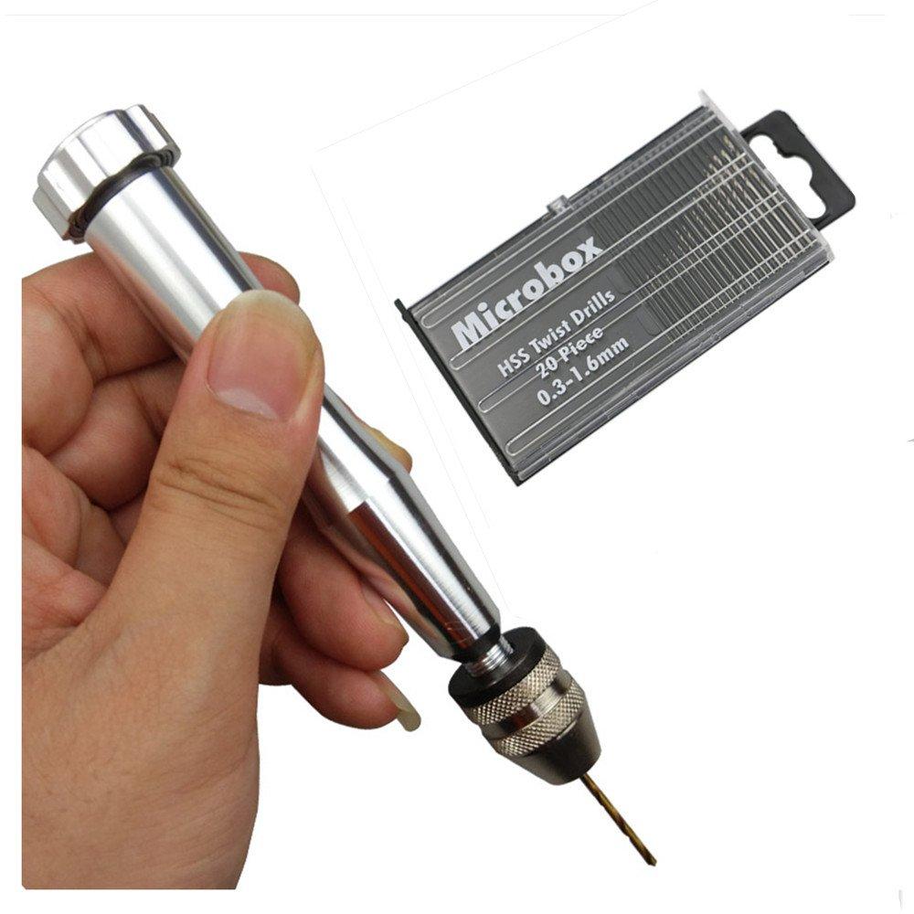 2 Chuck Mini Hand Drill 20 Twist Drills 0.3–1.6 mm Rotary Tool Set for Wood