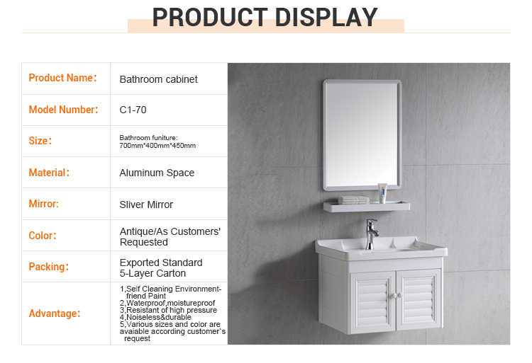 High quality aluminum white furniture mirror hotel modern bathroom cabinet wall mount vanity with sink
