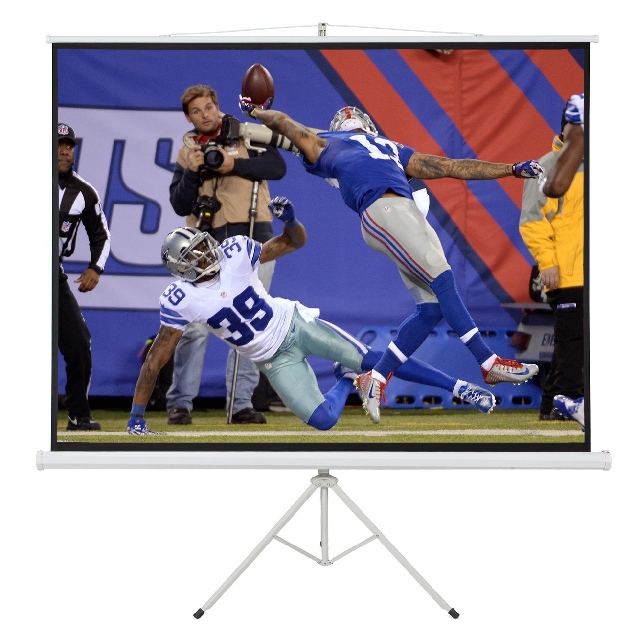 """ARKSEN 100"""" Portable Tripod Stand Projector Presentations with Handle (80x60) Projection Screen 4:3 Ratio, White"""