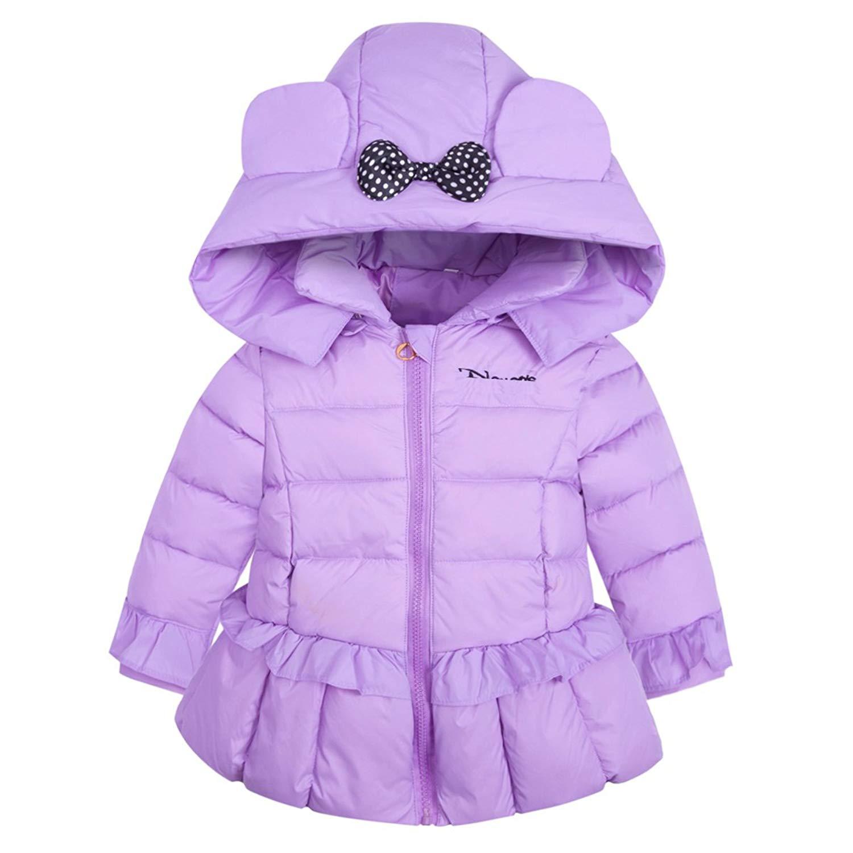AnKoee Girls Nordic Strider Jacket Fashion Anorak Winter Puffer Jacket Coat Hood Age 1-5 Years (Purple, 90cm/12-18 Months)