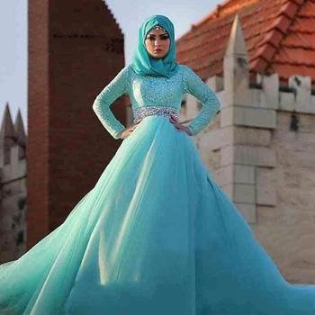 Z92767a 2017 Long Sleeves Lace Mermaid Muslim Wedding Dresses ...