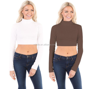 f555f6a90d9c7 Turtleneck long sleeve crop top Womens Fitted   Relaxed Fit Cotton Modal  Spandex Base Layering shirt