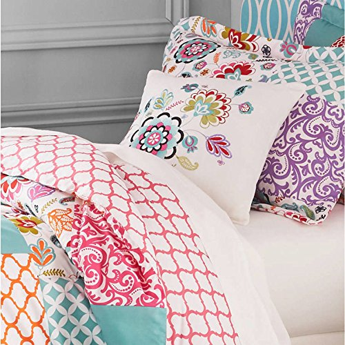 3 Piece Girls White Pink Boho Patchwork Comforter Twin Set, Purple Teal Damask Trellis Design Shabby Chic Moroccan Pattern, Kids Bedding For Bedroom Floral, Modern Cheerful Teen Themed Polyester