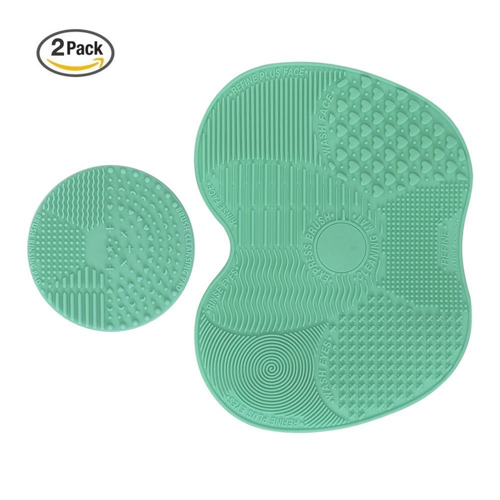 Adecco LLC Makeup Brush Cleaning Mat, Makeup Brush Cleaner Pad Set of 2 Cosmetic Brush Cleaning Mat Portable Washing Tool Scrubber Suction Cup (green)