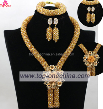 Nigerian Wedding 18k Gold Plated Jewelry Sets African Dubai Gold