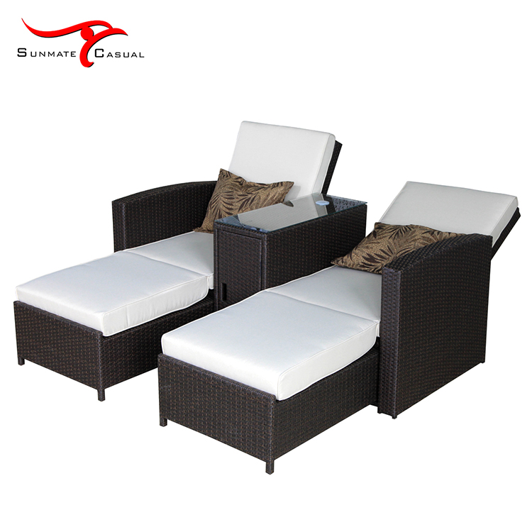 Leisure 2 Seat Multi-purpose Outdoor Garden Furniture Rattan Wicker Folding Reclining Sofa Bed with Umbrella
