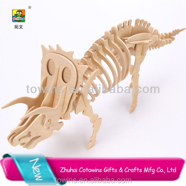 Hot sale custom plywood crafts funny 3d wooden dinosaur cartoon puzzle toys for kids