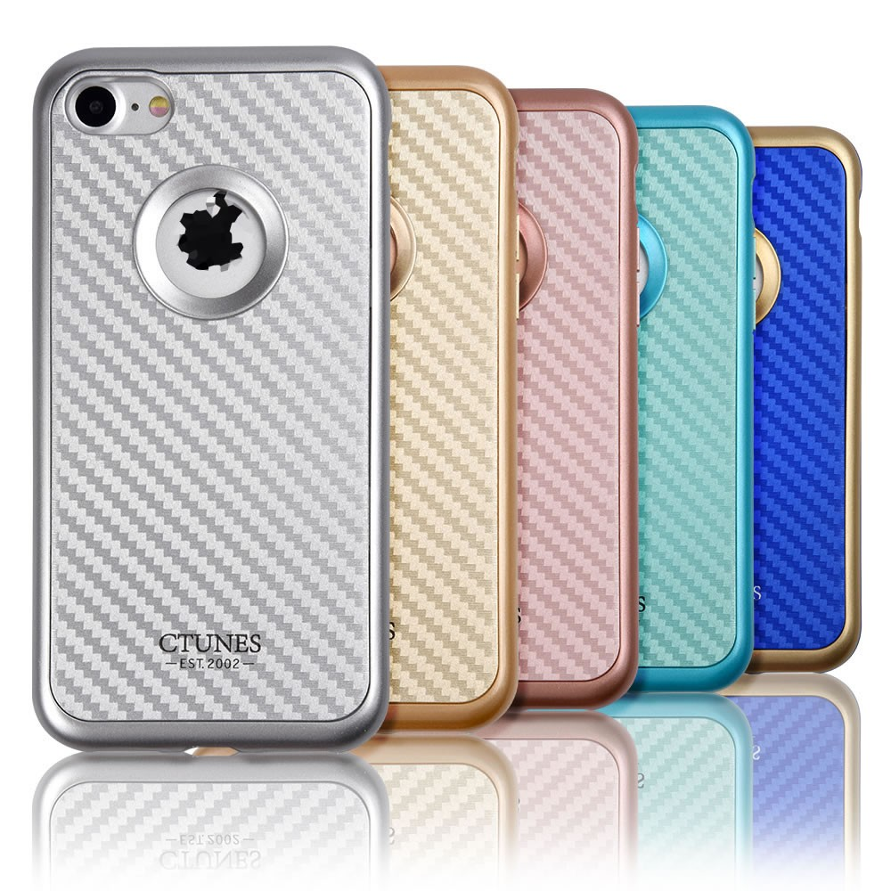 C&T Carbon Fiber Pattern Finish and Plating Edges Inner Soft TPU + PC Hard Frame 2 in 1 Case for iPhone 7