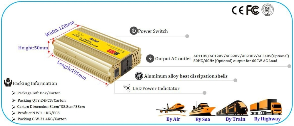 Full power high efficiency 12V 220V solar inverter Pure sine wave power inverter 600w