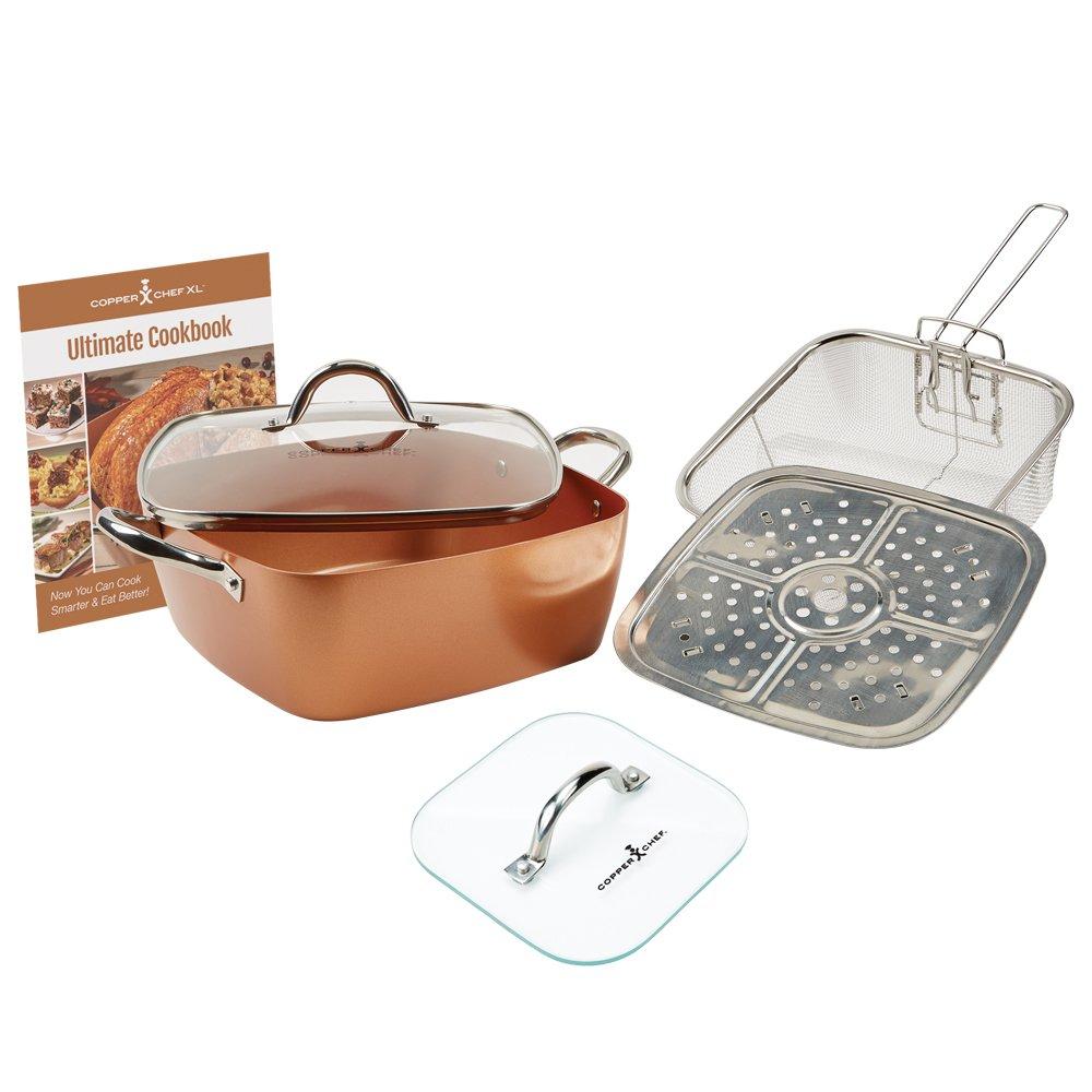 "Copper Chef Casserole Pan Set: 4-Piece XL 11"" Casserole Pot w/Glass Lid, Fry Basket, Steam & Roasting Rack & Glass Press Lid Set| Nonstick Cooking Pan Set Including Cookbook With Recipes |Top Giftin"