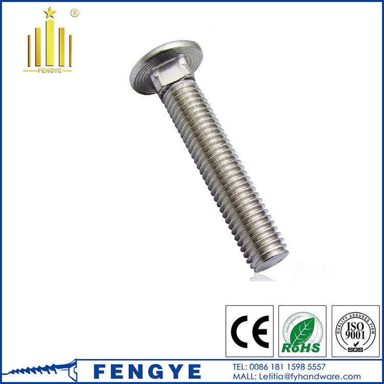 Dome head stainless steel bolts With Square Neck
