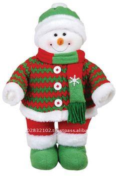 14 standing snowman green - Indoor Snowman Christmas Decorations