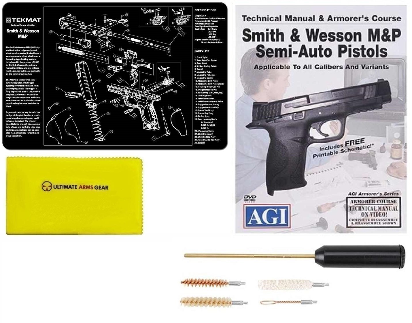 Ultimate Arms Gear Gunsmith & Armorer's Cleaning Work Bench Gun Mat S&W Smith & Wesson M&P + Compact Pocket Sized Travelling Cleaning Kit + American Gunsmithing Institute Pistols Armorer's Course + Gun Care and Reel Silicone Cleaning Cloth