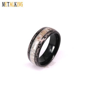 Black Tungsten Rings For Men Wedding Band Deer Antler Inlaid Pattern