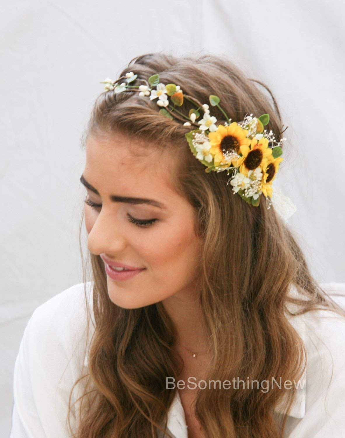 Get Quotations · Sunflower Flower Crown with Green Leaves and Babies  Breath 4928d77ec6f