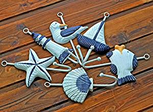 CCWY The Mediterranean Sea 6 hooks, coat hooks on the wooden craft gift home decorating ideas 0565, Blue