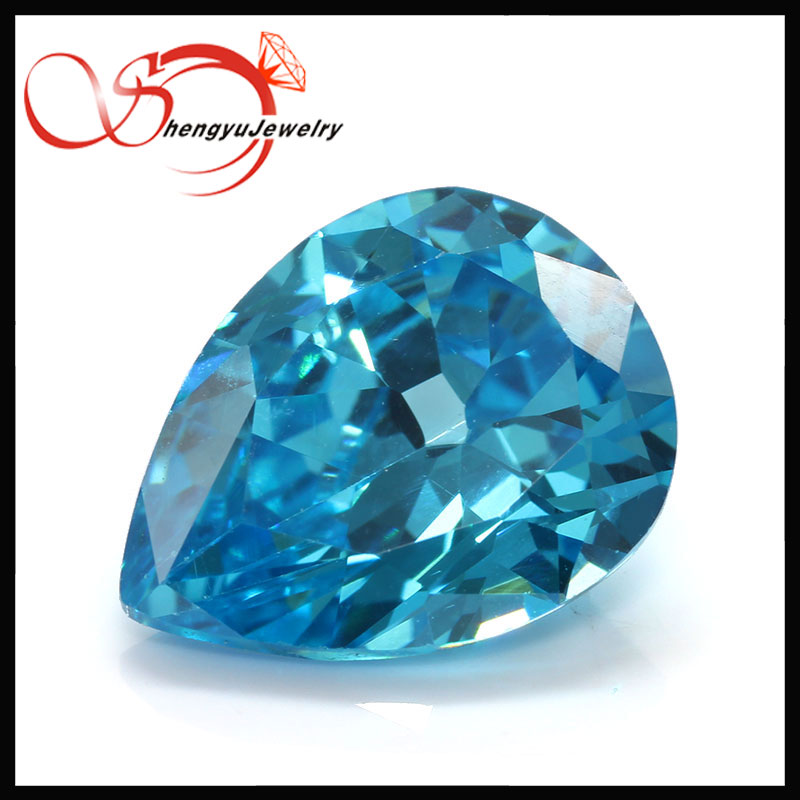 Pear shape 9*11 mm AAA aquamarine blue faceted cubic zirconium supplier