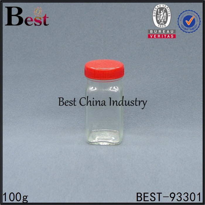 clear glass sweet bottle, 100g square glass mason jar for jam storage China alibaba, free sample