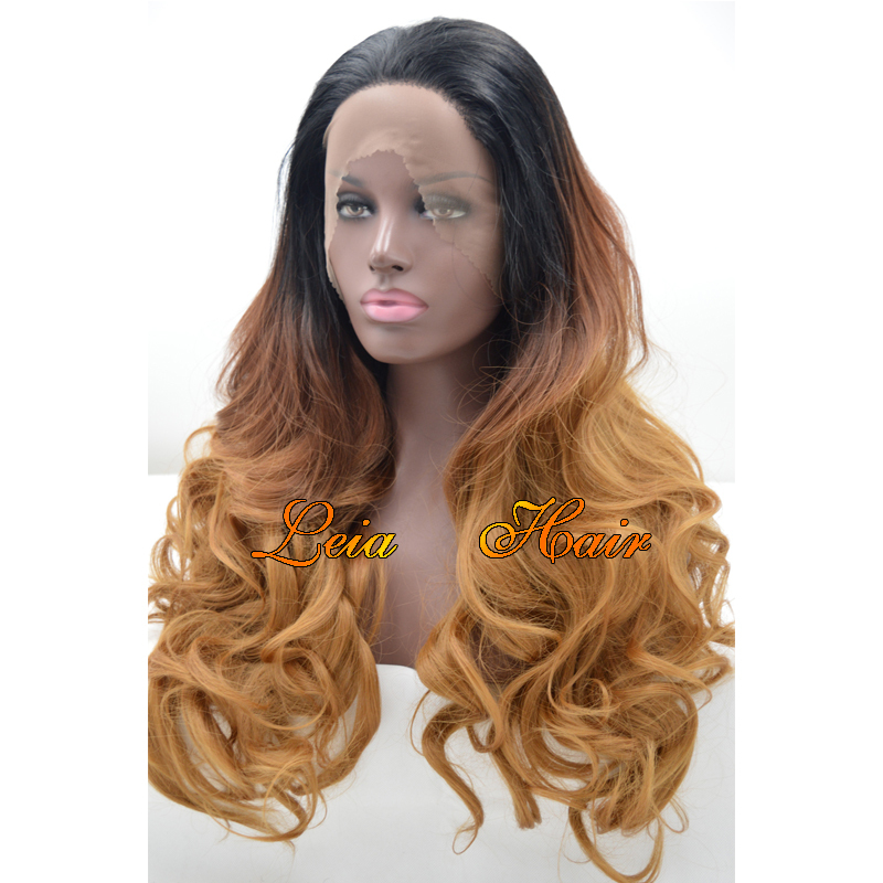 Brown Wig Ombre Synthetic Lace Front Wavy Wig Heat Resistant Kanekalon Hair Three Tone Color Black To Brown Glueless Long Wigs