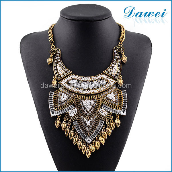 wholesale jewelry lots gold alloy rhinestone beads necklace with heart pendant