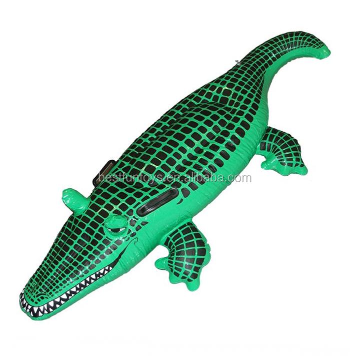 Elegant Inflatable Crocodile Pool Float Mat Water Bed Kids Plastic Crocodile Used  Ride On Toys Water Toys