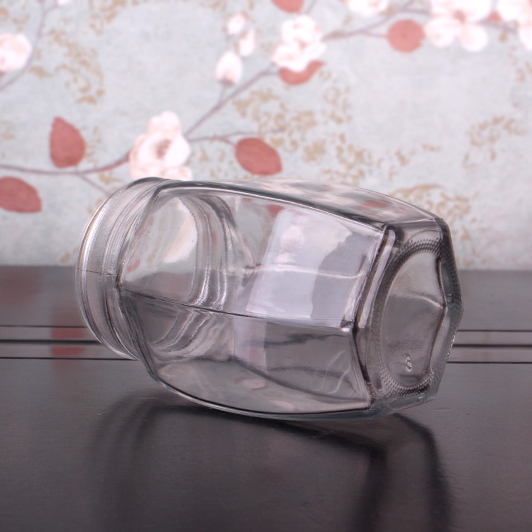 Wholesale Empty Wide Mouth 370ml  Hexagonal Glass Honey Food Jars