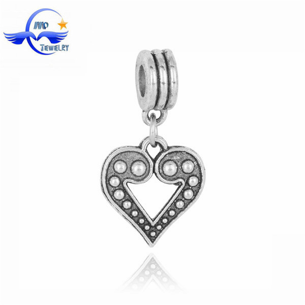 China Bead Manufacturers Vintage Heart Slider Beads Jewelry Finding Beads for Leather Bracelet