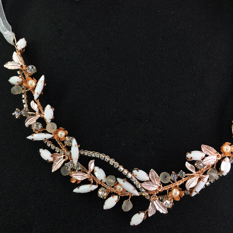 Rose Gold Wedding Hair Accessories Resin Stones Hair Vine Rhinestone Chain Bridal Headpiece Forehead Headband For Dancing