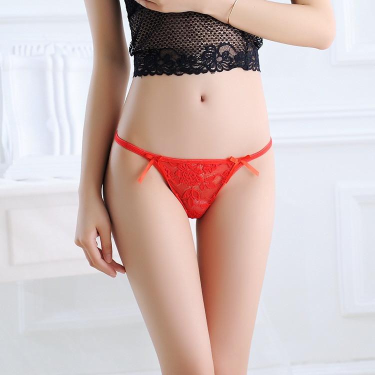 1d17fc3f1f9 Stock New Seamless Cute Metal buckle thongs Underwear Women Sey Lace V- string Briefs Panties