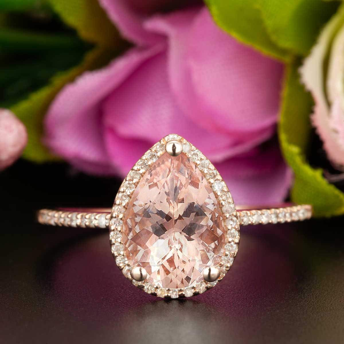 e41b9e4ab0e109 Get Quotations · Luxurious Huge 2.50 Carat Antique Design Pear cut Morganite  and Diamond Halo Engagement Ring for Women