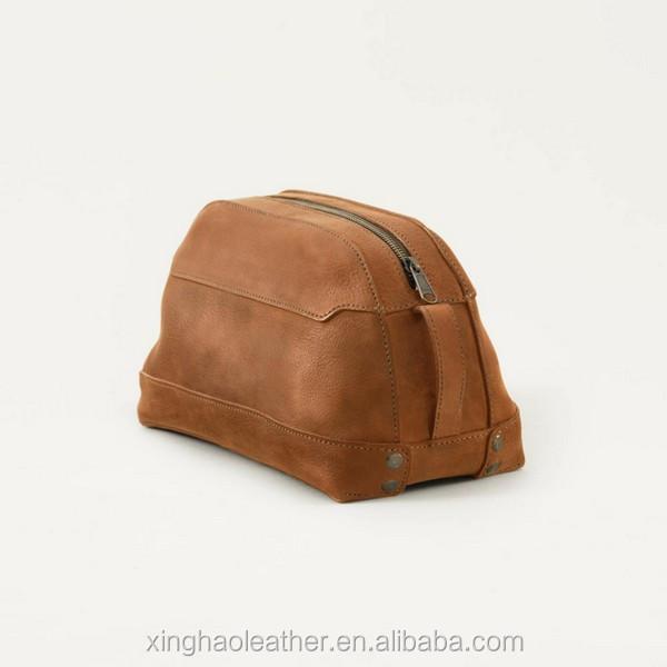 fee124c924fb 100% Full-grain Leather Wash Bag Leather Toiletry Bag Mens Shaving ...