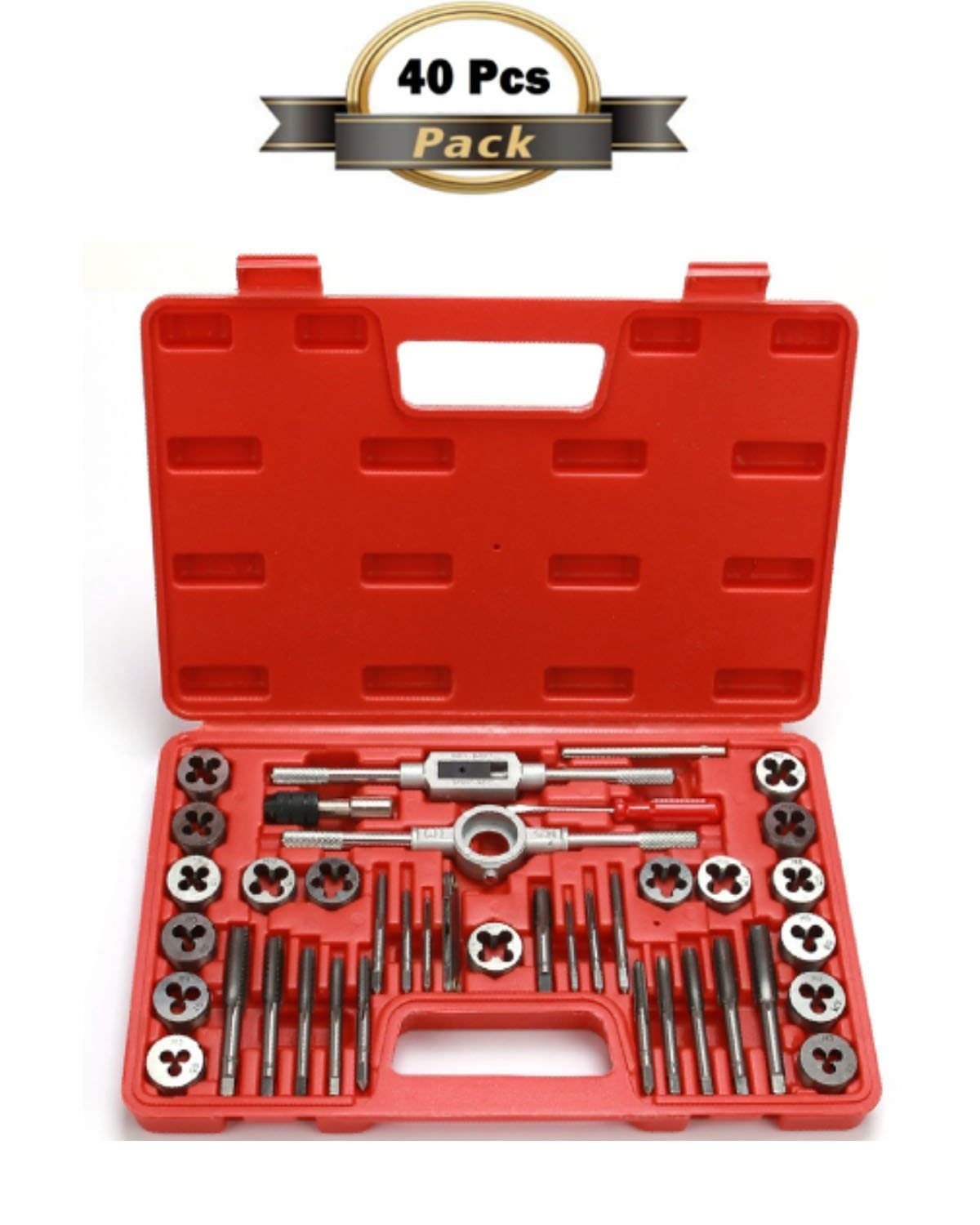 WC-40TDS, 40 Pieces Taps and Dies Set Metric Threading Tool Set Alloy Steel Taps and Dies Screw Thread Making Tool Bit Kit Set
