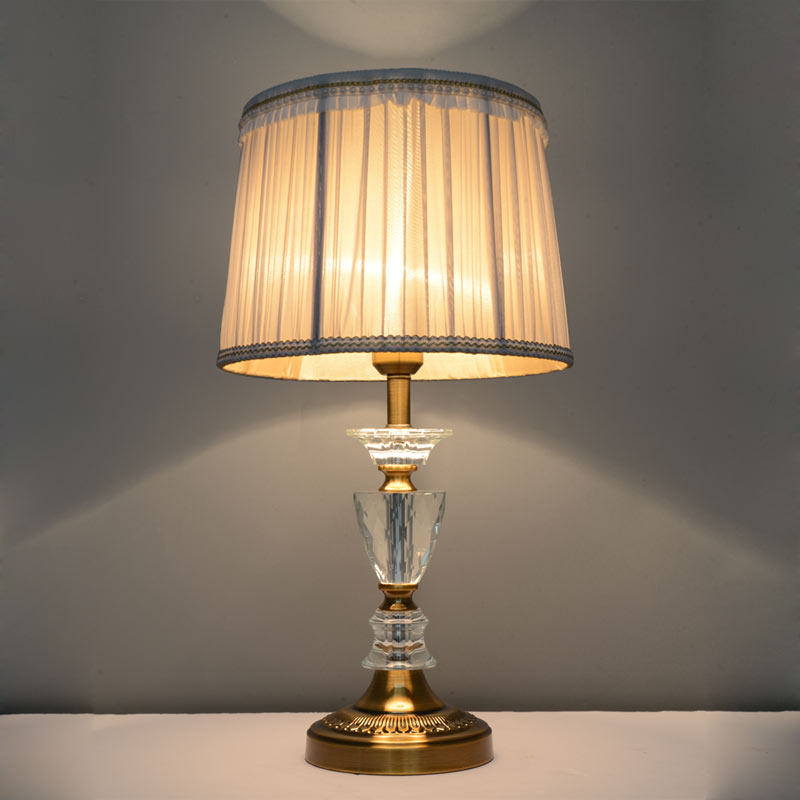 Living Room Lamp Shades: Vintage Crystal Table Lamp E27 Bedroom Living Room Bedside