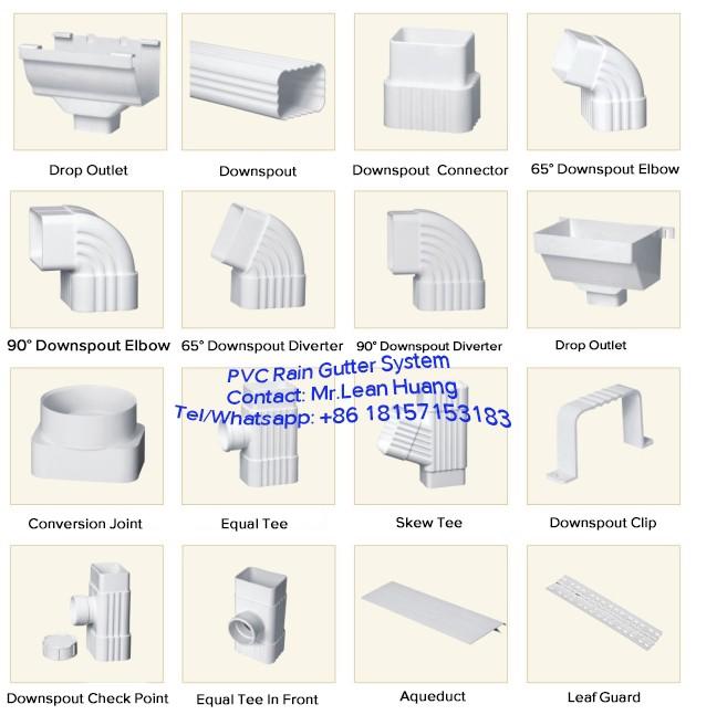 Customize pvc rainwater gutters, plastic rain gutters, pvc rain gutter