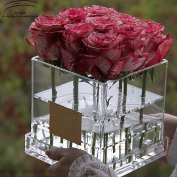 Weitu Acrylique Boite Pour Fleurs En Gros Rose Clair Acrylique Boite