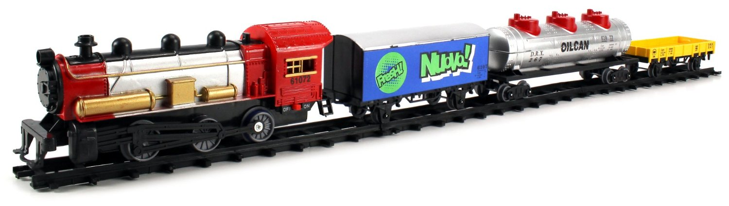 Happy Service Train Express 22 Piece Battery Operated Toy Train Set w/ 4 Train Cars, 16 Railway Tracks by Toy Train Sets