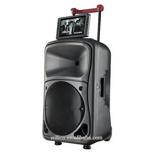 Multifunction TV trolley plastic rechargeable DVD speaker with 9'' monitor screen display