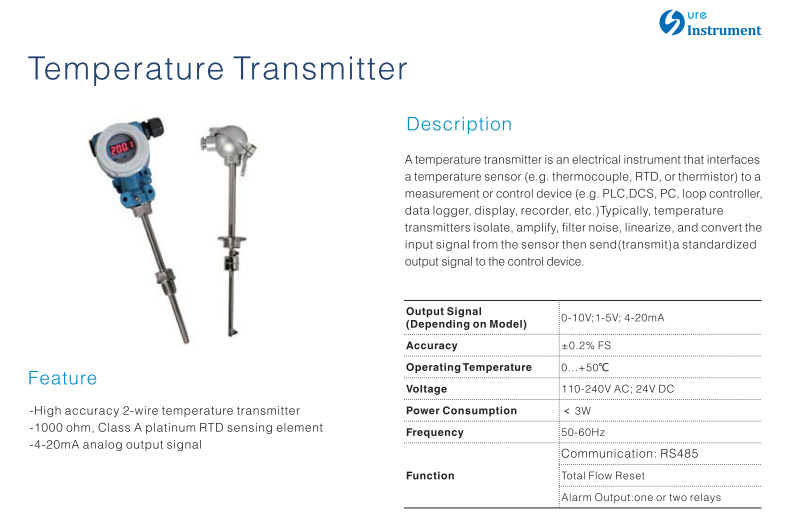 PT100 Or PT1000, 4-20mA output Temperature Transmitter - KingCare   KingCare.net