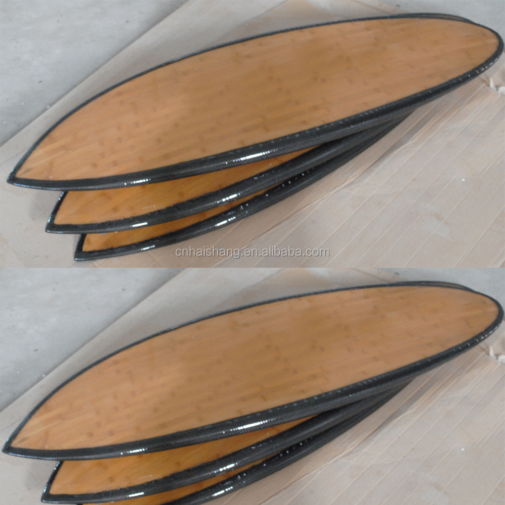 Wholesale customized epoxy bamboo kids surfboard High Quality carbon surfboard with carbon rail