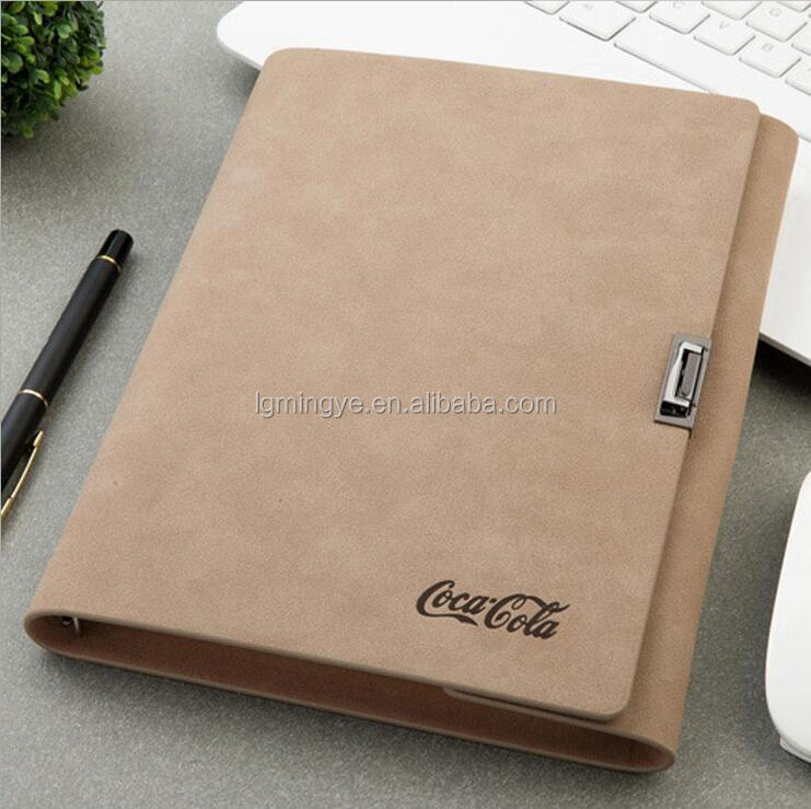 PU Leather Cover Pocket Spiral Notebook With Pen Attached