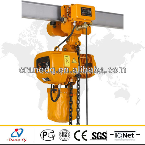 1.5 ton monorail low price electric chain hoist with pendent control