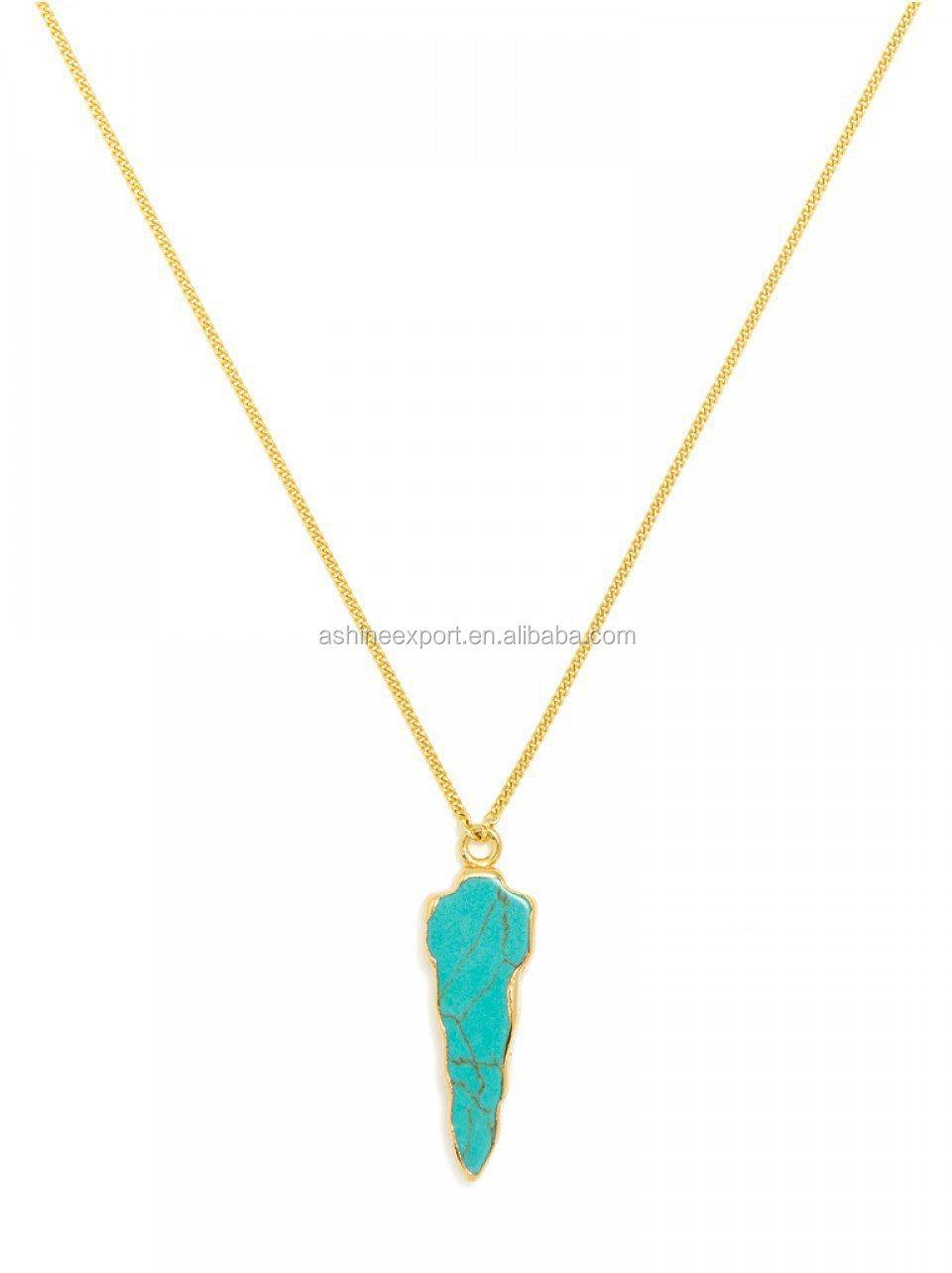 2015fashion Simple Jewelry Turquoise Arrowhead Pendant Gold ...
