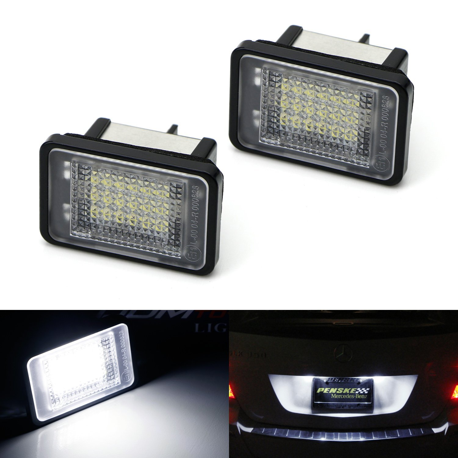 iJDMTOY (2) Xenon White CAN-bus OEM-Replace 18-SMD 3W LED License Plate Lights Assembly For 2010-2012 Mercedes X204 GLK-Class