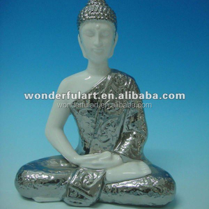 plated silver porcelain ceramic buddha statue