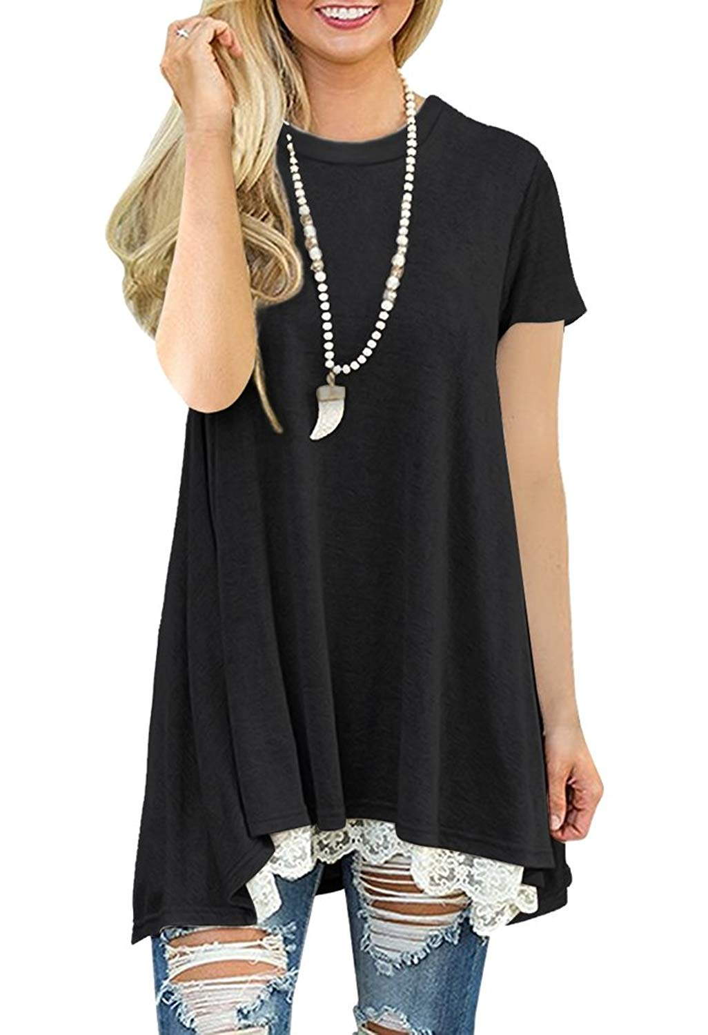 48e06cf9bb7 Get Quotations · Womens Short Sleeve Tunic Tops Dresses Casual Loose Lace  Crochet Plain Crew Neck Swing A Line