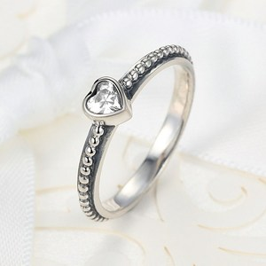 PA7211 wholesale heart simple design one cubic zirconia ring