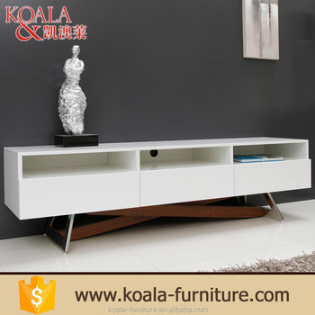 High Gloss White And Stainless Steel Legs Tv Unit Bench Table T285