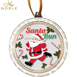 2017 Custom Metal Medal Christmas Santa Reindeer With Ribbon