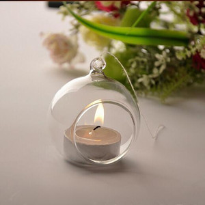 Hot selling new design clear tealight crystal hanging glass ball candle holder