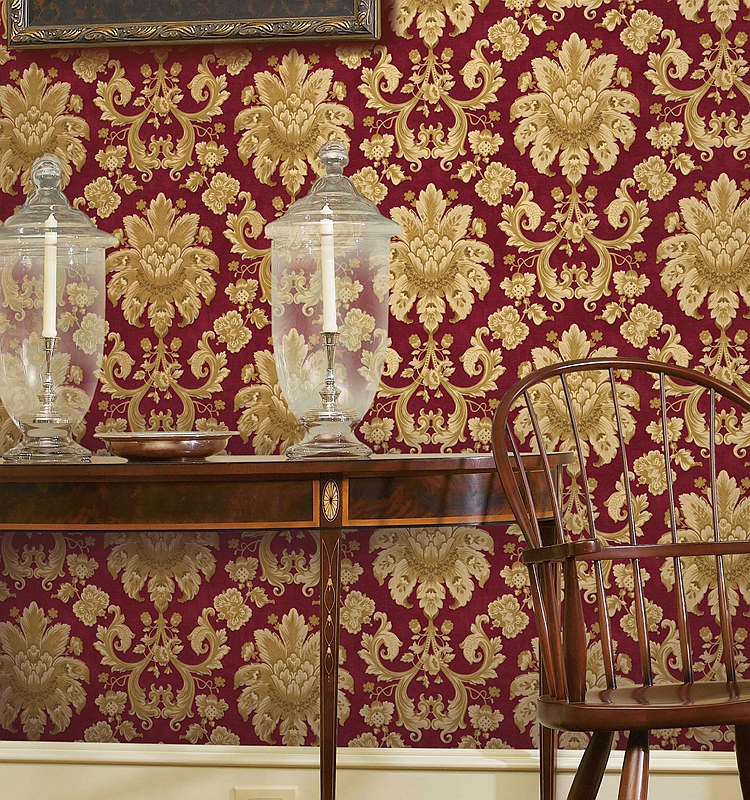 Red moisture proof 0.53*10m furniture vinyl wallpaper for house interior